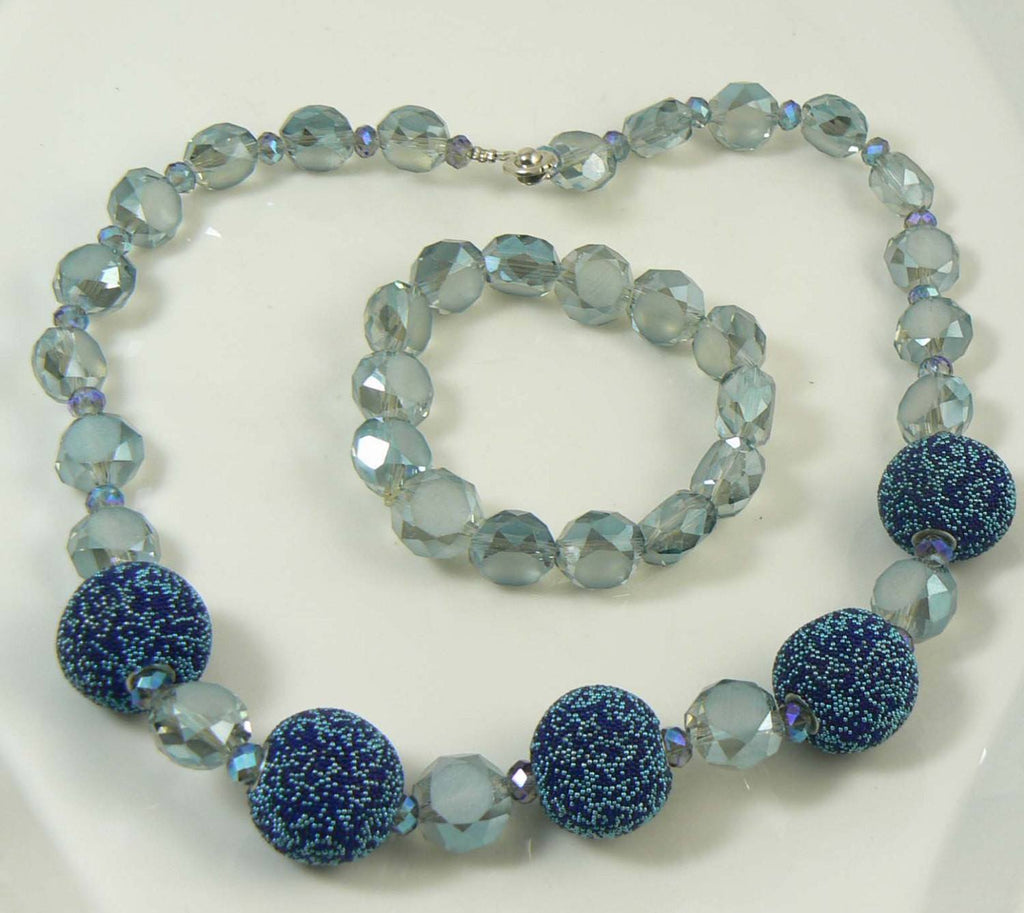 Sugar Bead Faceted Glass AB Crystal Midnight Blue and Gray Necklace Bracelet Set - Vintage Lane Jewelry