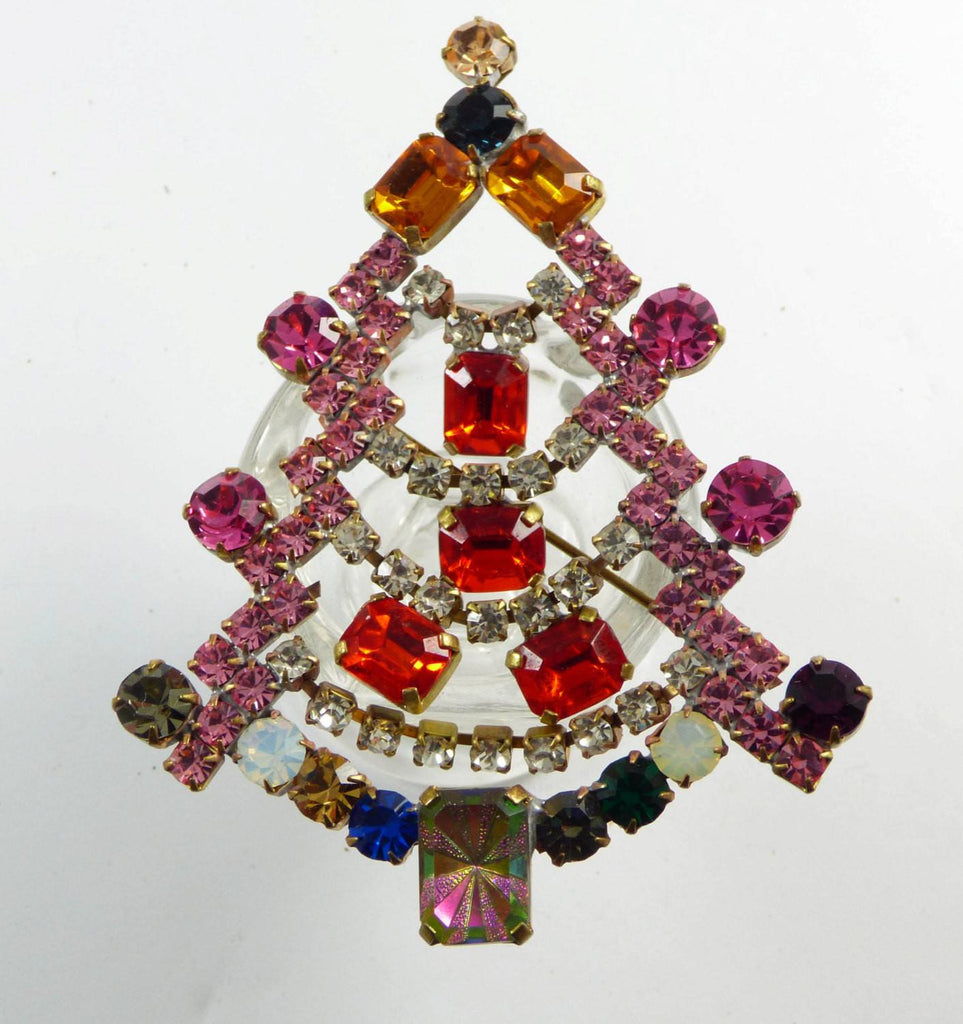Bijoux M.G. Czech Rhinestone Colorful Christmas Tree Brooch, Xmas Pin, Holiday - Vintage Lane Jewelry