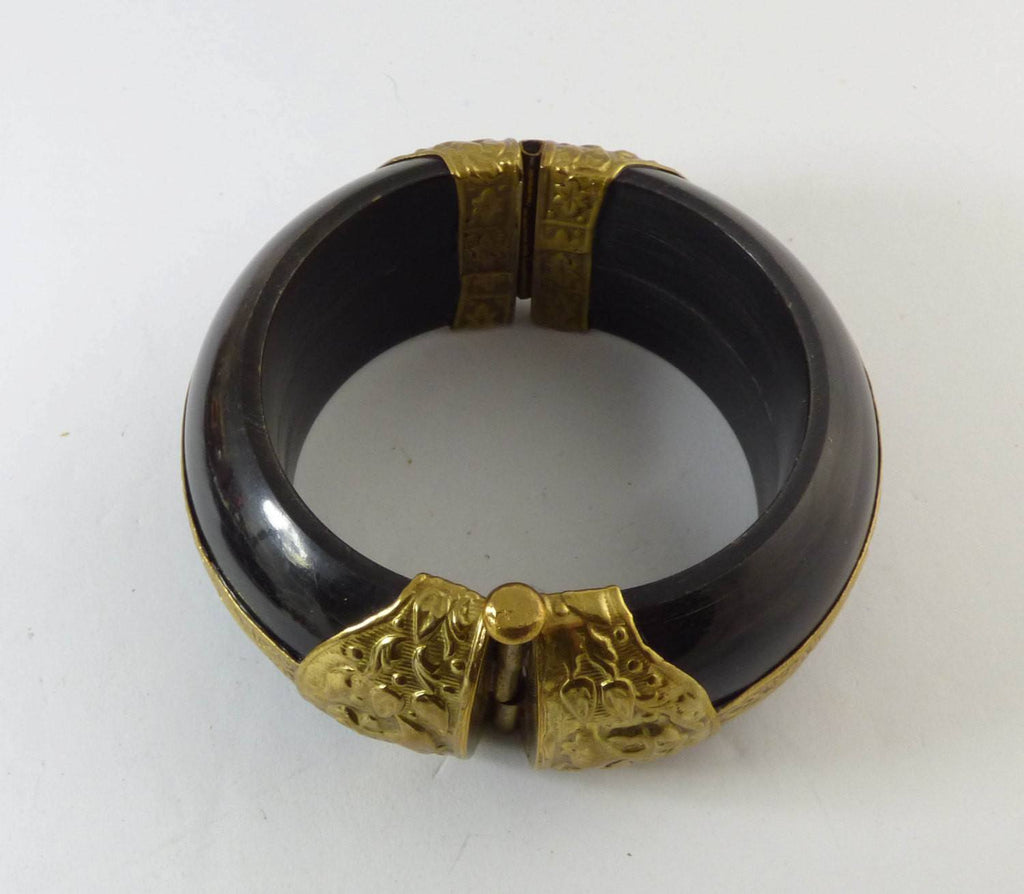 Vintage Bohemian Black Resin Repousse Brass Flower Cuff Bracelet - Vintage Lane Jewelry