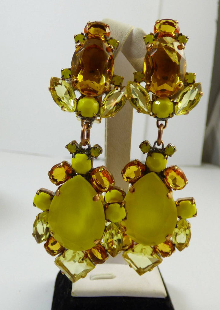 Czech Glass Amber and Yellow Rhinestone Clip Earrings - Vintage Lane Jewelry