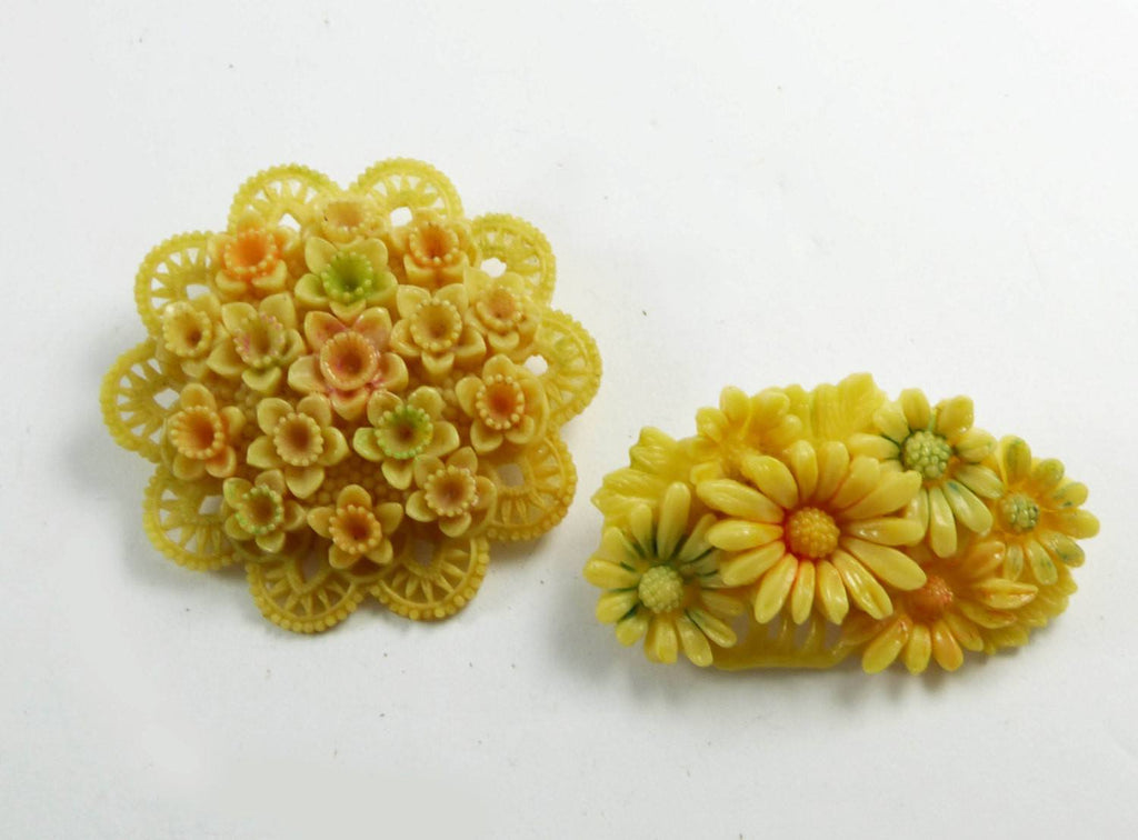 Celluloid Occupied Japan Carved Flower Brooch Pair - Vintage Lane Jewelry