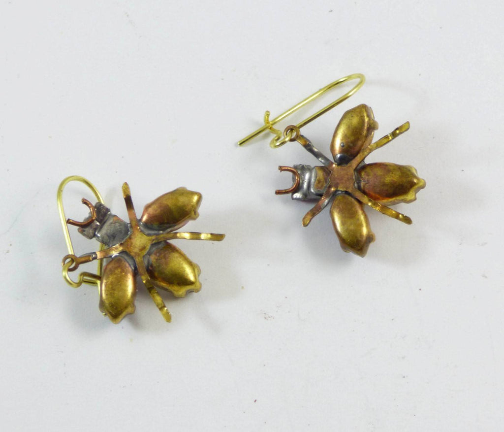 Czech Glass Rhinestone Fly Earrings, Purple and Clear - Vintage Lane Jewelry