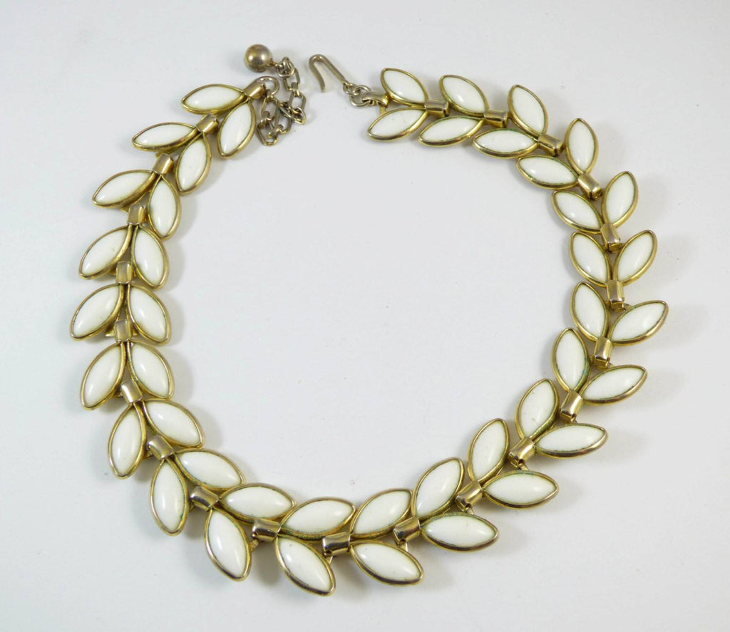 Vintage Trifari Poured Glass Leaf Necklace - Vintage Lane Jewelry - 1