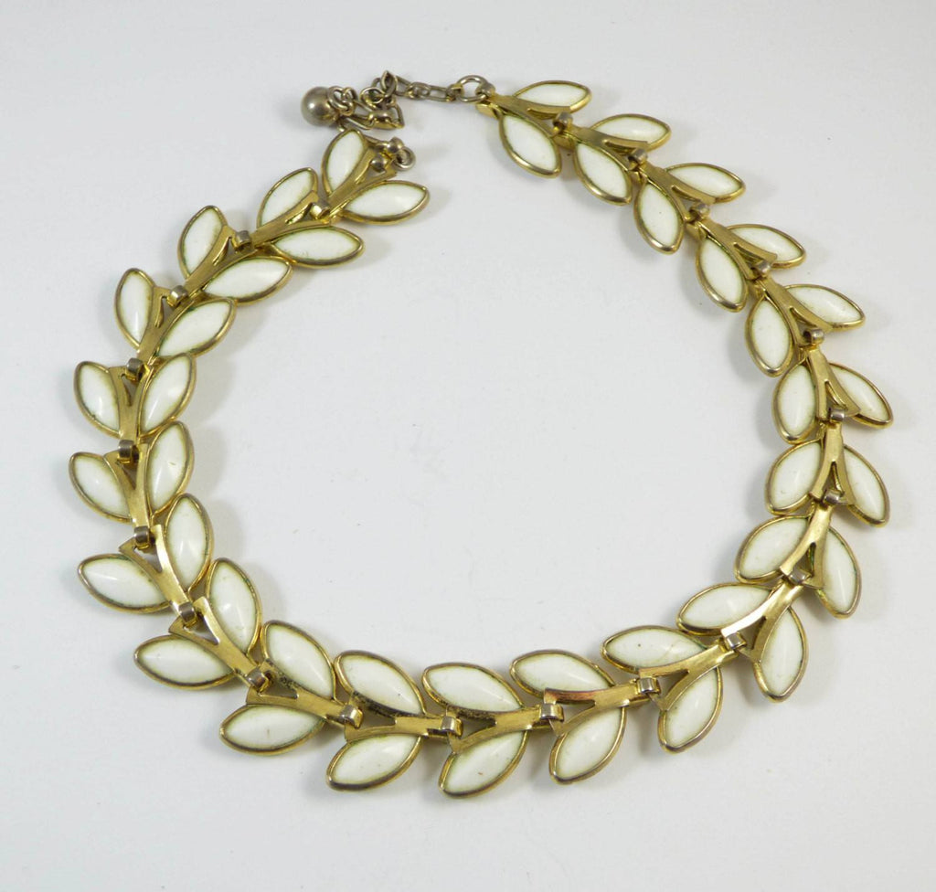 Vintage Trifari Poured Glass Leaf Necklace - Vintage Lane Jewelry