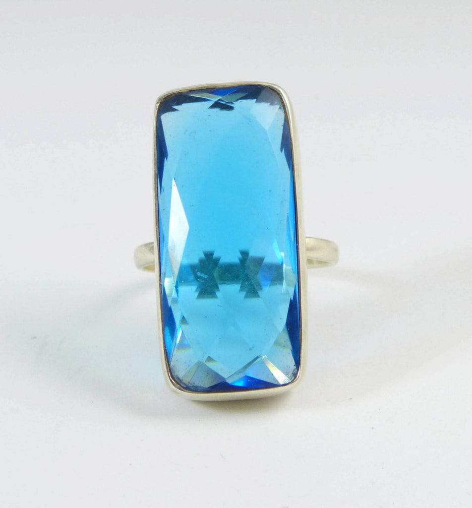 16 ct Faceted Blue Topaz 925 Huge Sterling Silver Ring - Vintage Lane Jewelry