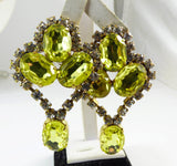 Czech Glass Bold Statement Set, Yellow Gold Rhinestones surrounded by Clear glass Stones, Matching Clip Earrings - Vintage Lane Jewelry