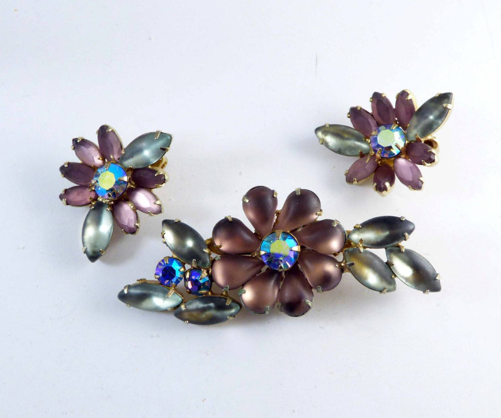 Flower Demi Parure in Shades Of Purple with AB Rhinestones - Vintage Lane Jewelry