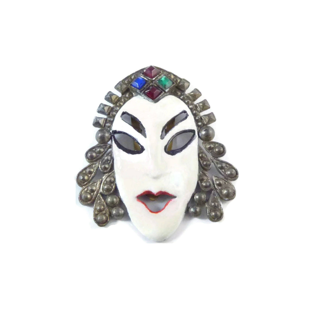 Antique Dress Clip Asian White Painted Face on Pot Metal, Rhinestone - Vintage Lane Jewelry