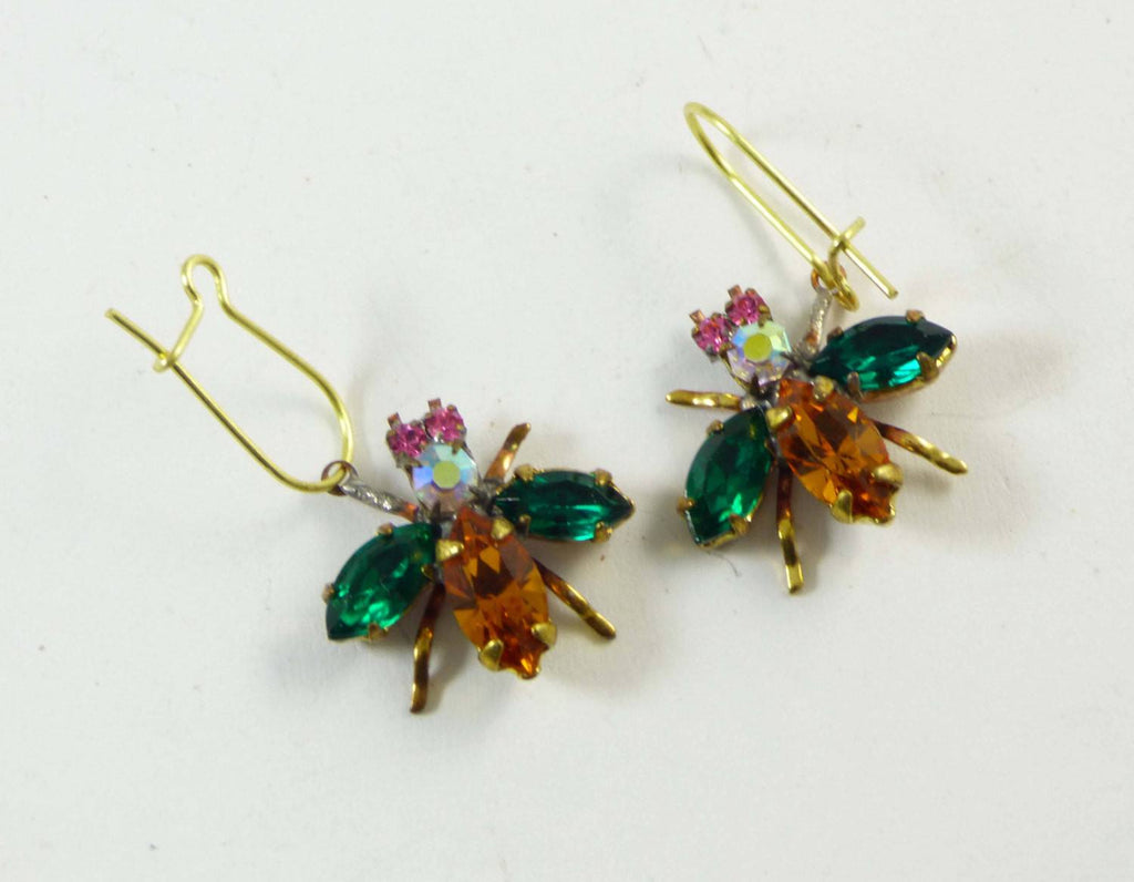 Czech Glass Rhinestone Fly Earrings, green and topaz - Vintage Lane Jewelry