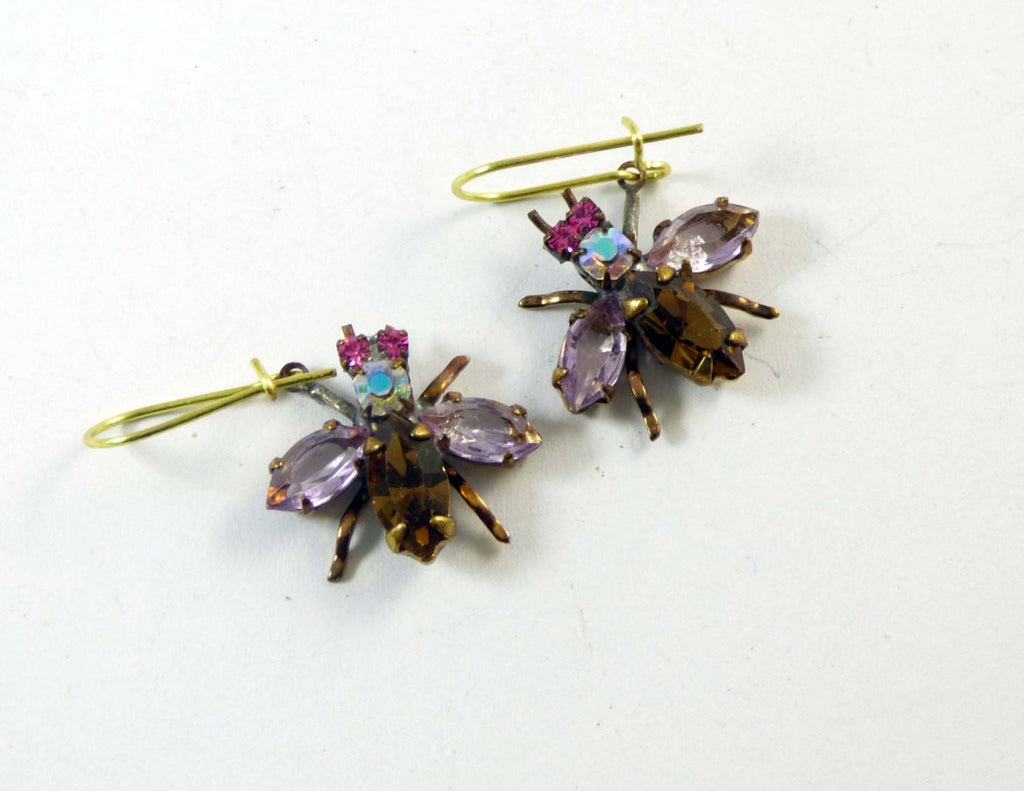Cute Czech Glass Rhinestone Fly Earrings, lavender and brown - Vintage Lane Jewelry