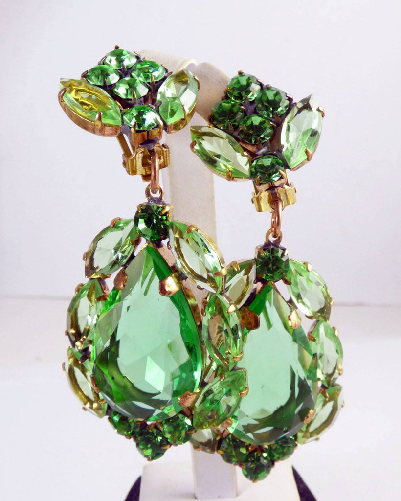 Green Czech Glass Huge Dangling Clip Earrings, Unique vintage, antique costume, estate jewelry - Vintage Lane Jewelry