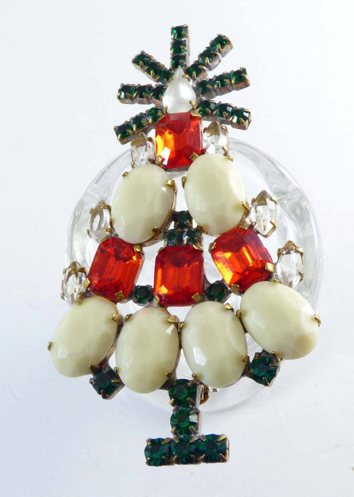 Czech Glass Opaque White and Red Rhinestone Husar D. Christmas Tree Pin, X-mas pin, Holiday Brooch - Vintage Lane Jewelry