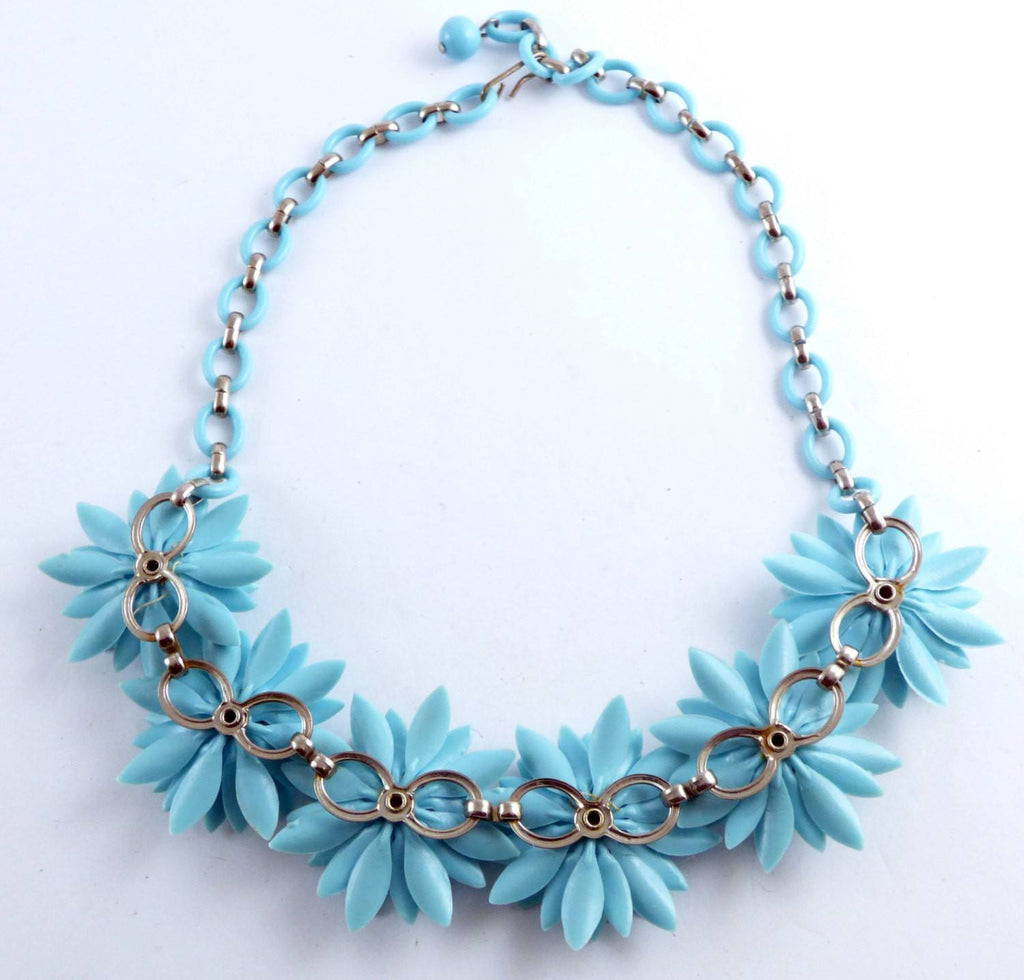 Blue Soft Plastic Flower Daisy Celluloid Necklace - Vintage Lane Jewelry