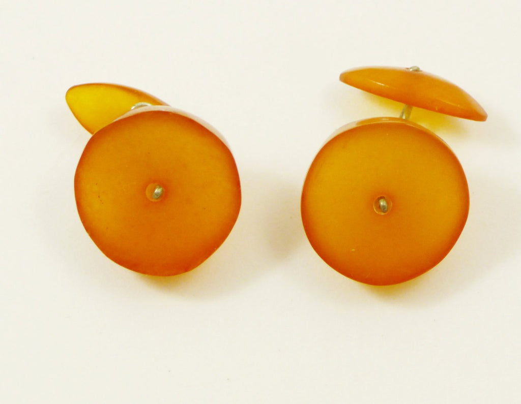 Vintage Baltic Amber Round Cufflinks - Vintage Lane Jewelry