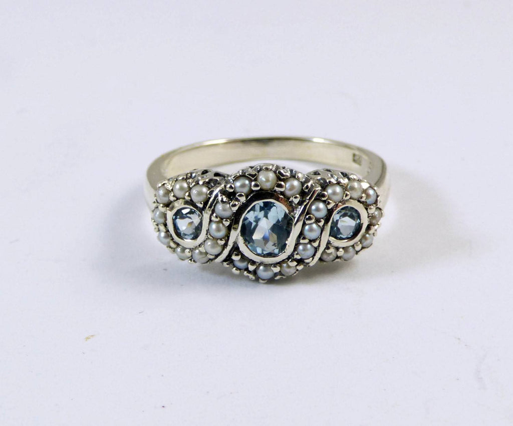 Edwardian Revival Natural Aquamarine and Seed Pearl Sterling Silver Ring - Vintage Lane Jewelry