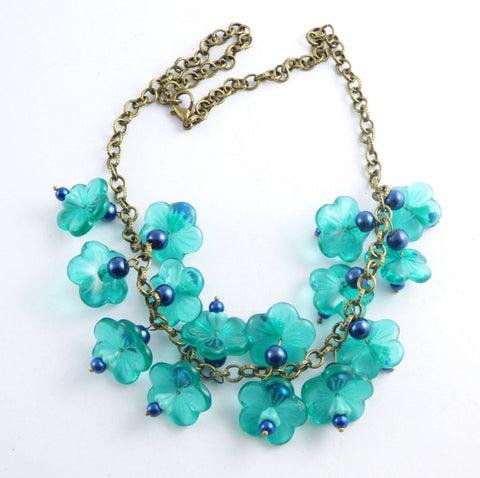 Teal Glass Beaded Flower Charm Necklace