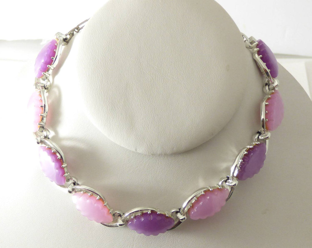 Vintage Thermoset Pearly Pink and Purple Necklace, Bracelet, Clip Earrings - Vintage Lane Jewelry
