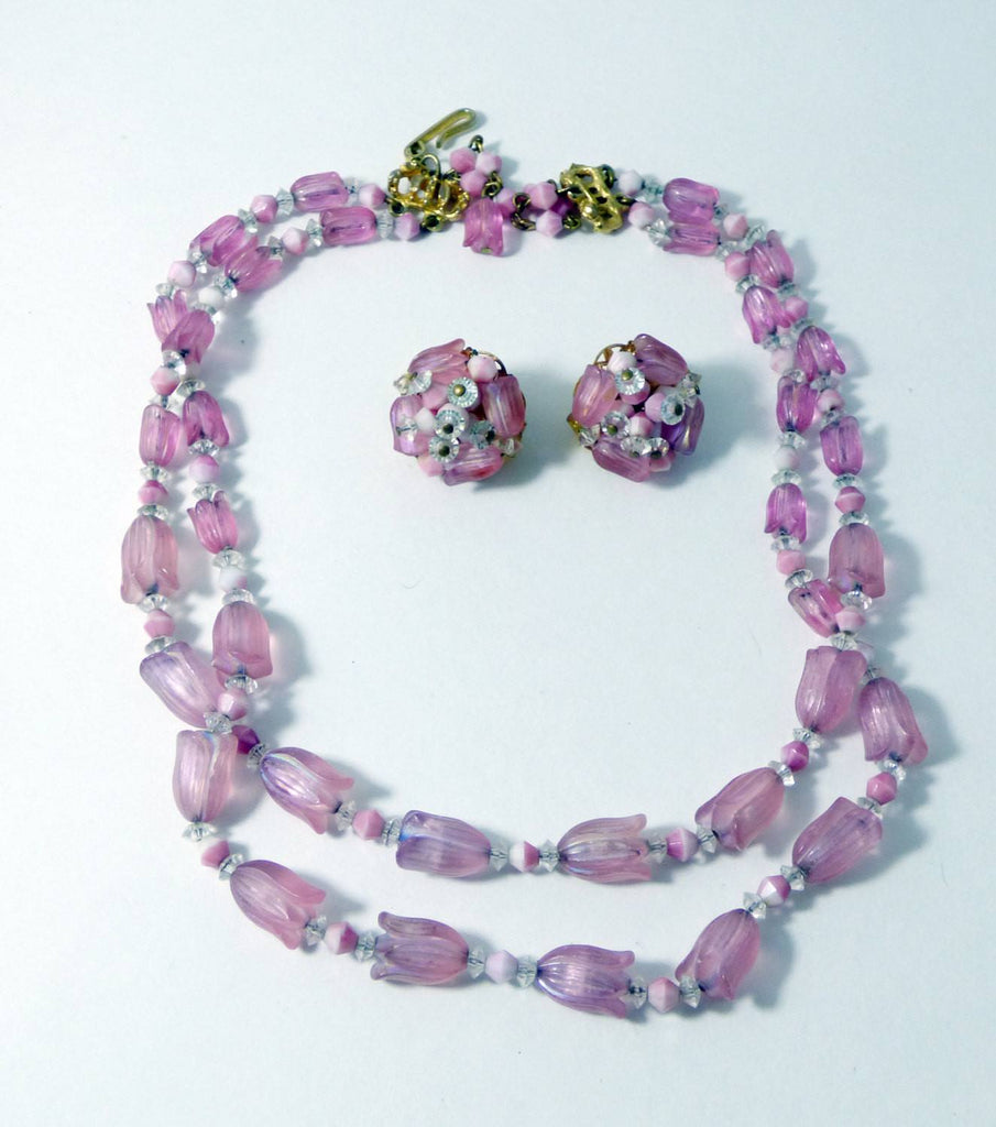Vintage Hobe Pink Tulips Beaded Necklace and Clip Earrings - Vintage Lane Jewelry