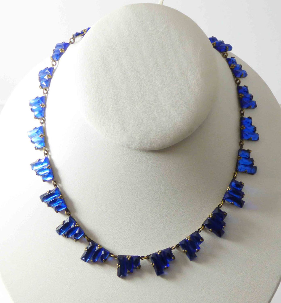 Art Deco Czech Blue Vauxhall Mirror Glass Step Necklace - Vintage Lane Jewelry
