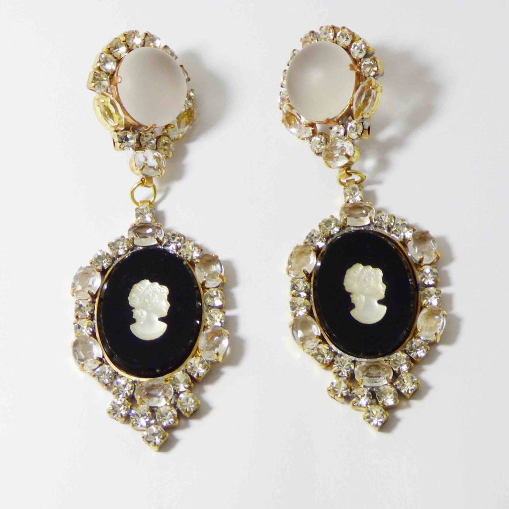 Cameo Czech Glass Black and Clear Rhinestone Dangling Clip Earrings - Vintage Lane Jewelry
