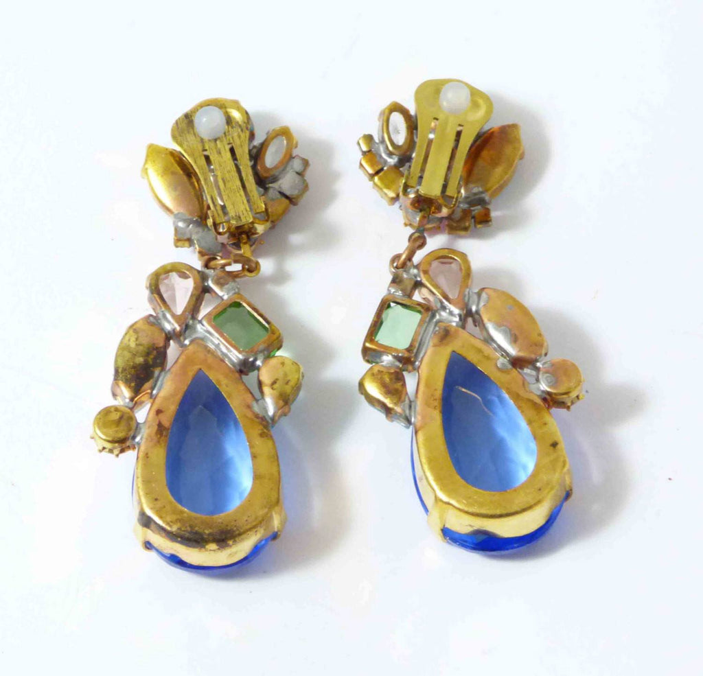 Czech Glass Blue Pastel Dangle Clip Earrings, Rhinestone, open-back - Vintage Lane Jewelry
