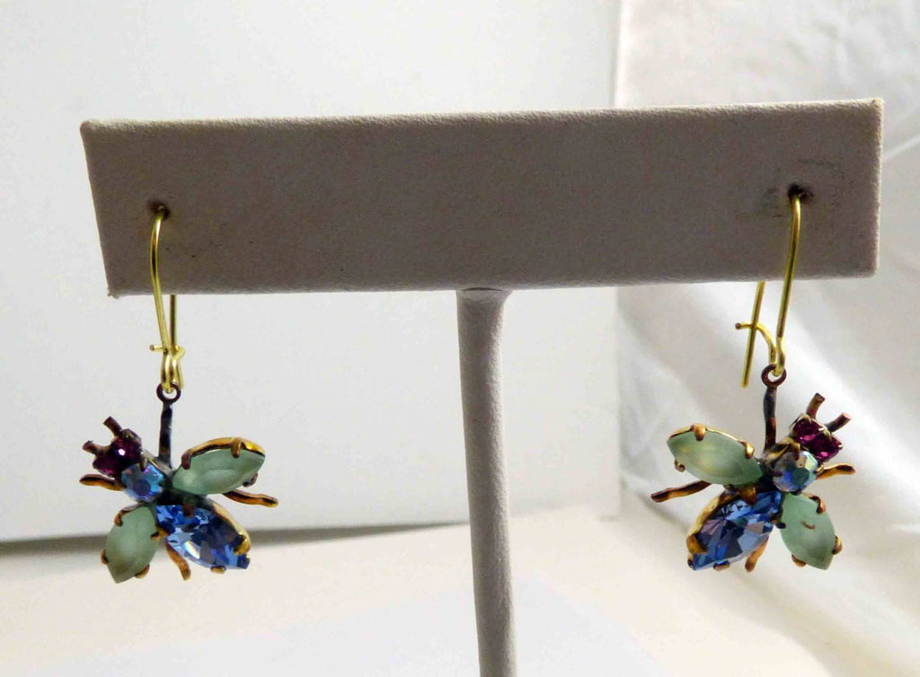 Czech Glass Rhinestone Fly Earrings, lavender and opaque green. - Vintage Lane Jewelry