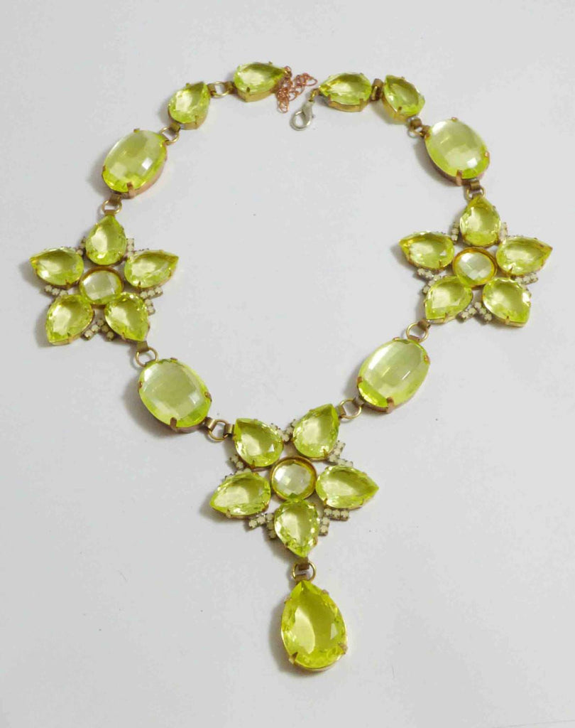 Czech Vaseline Uranium Flower Statement Necklace - Vintage Lane Jewelry