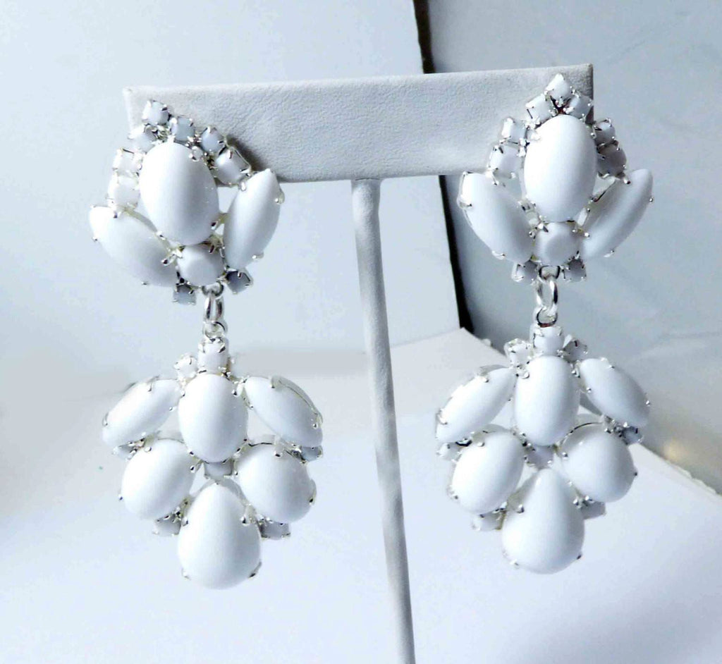 Czech Glass Opaque White Glass Stones Large Dangling Silver Plated Pierced Earrings - Vintage Lane Jewelry