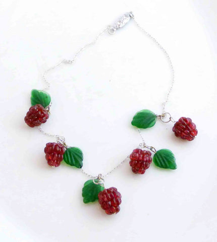 Art Glass Green Foil Flower Striped Glass Beads Necklace