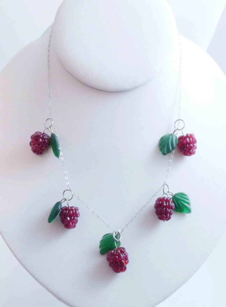 Berries, Sterling Silver Glass Leaves and Raspberries Necklace, Czechoslovakia - Vintage Lane Jewelry