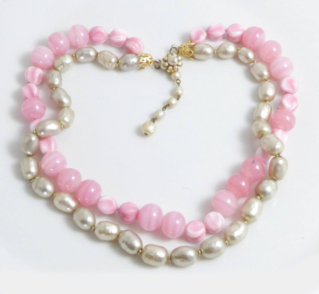 Miriam Haskell Pink Glass Beads and Baroque Glass Pearl 2 Strand Necklace - Vintage Lane Jewelry
