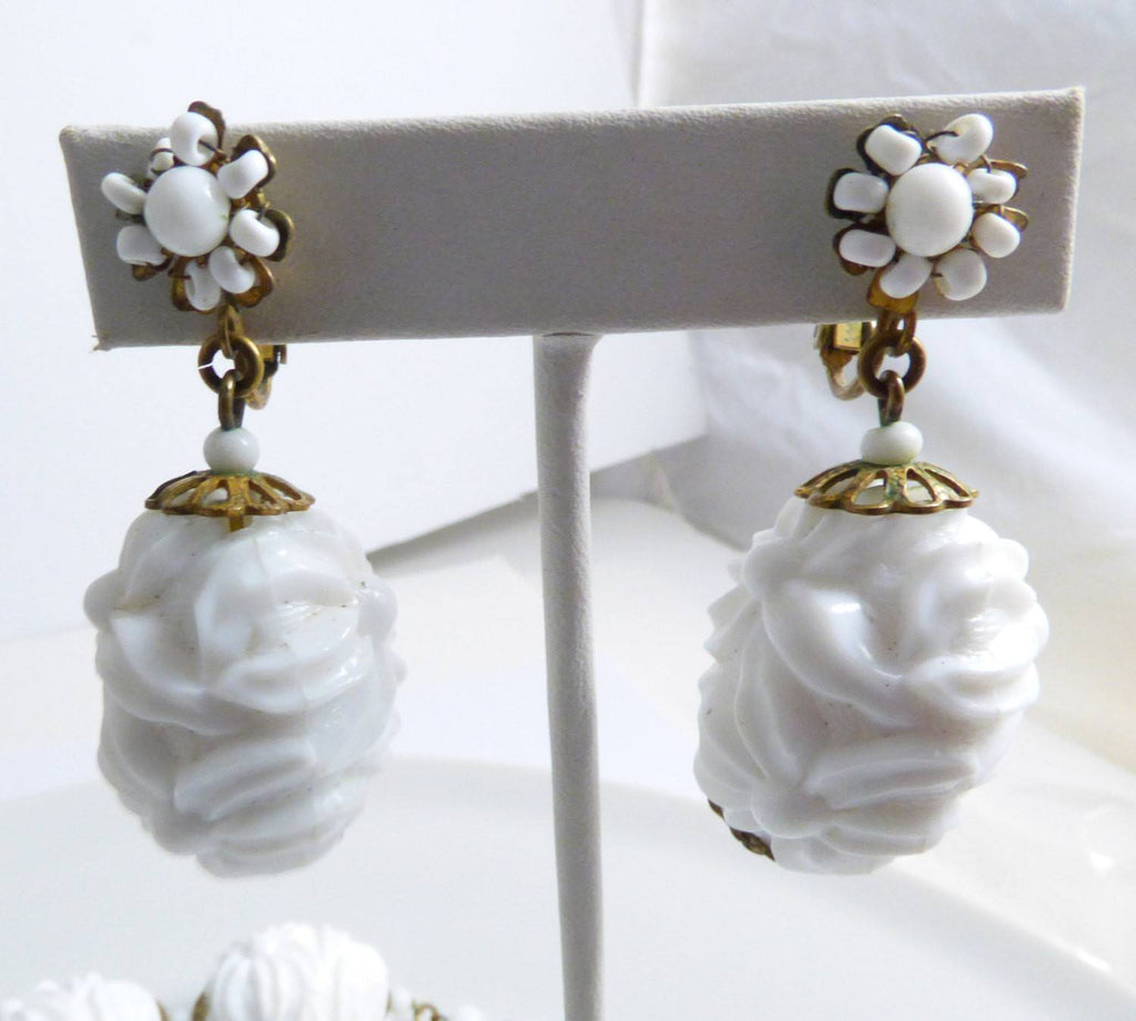 Miriam Haskell White Molded Ornate Floral Plastic Necklace and Clip Earrings - Vintage Lane Jewelry