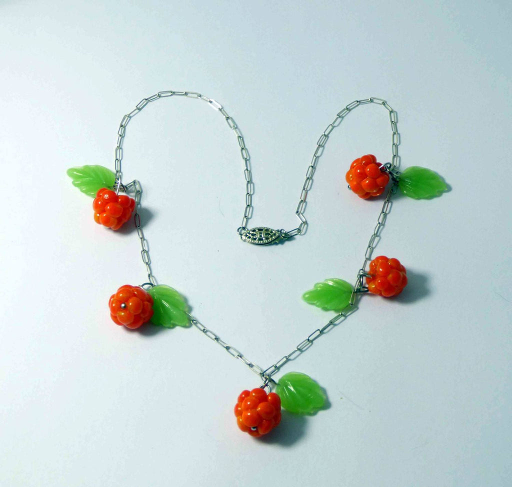 Berries, Sterling Silver Glass Leaves and Cloudberries Necklace - Vintage Lane Jewelry
