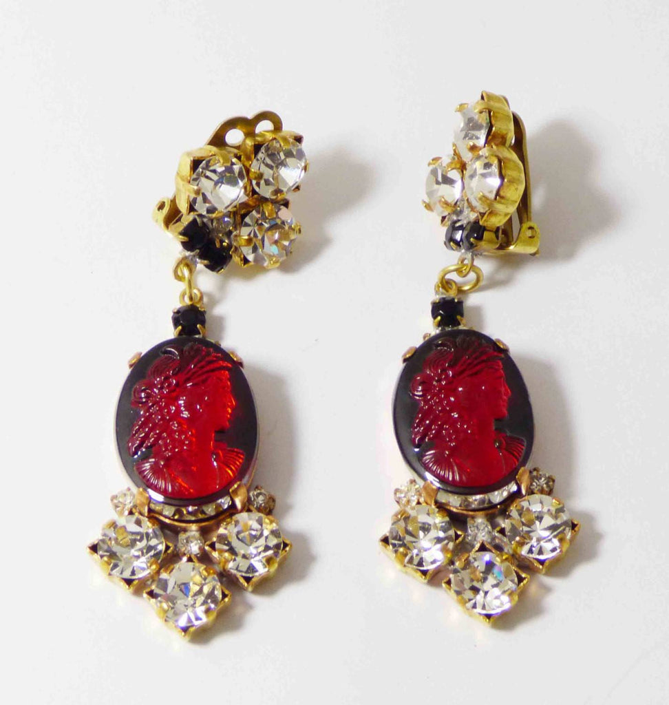 Czech Red Glass Cameo and Clear Rhinestone Dangling Clip Earrings - Vintage Lane Jewelry