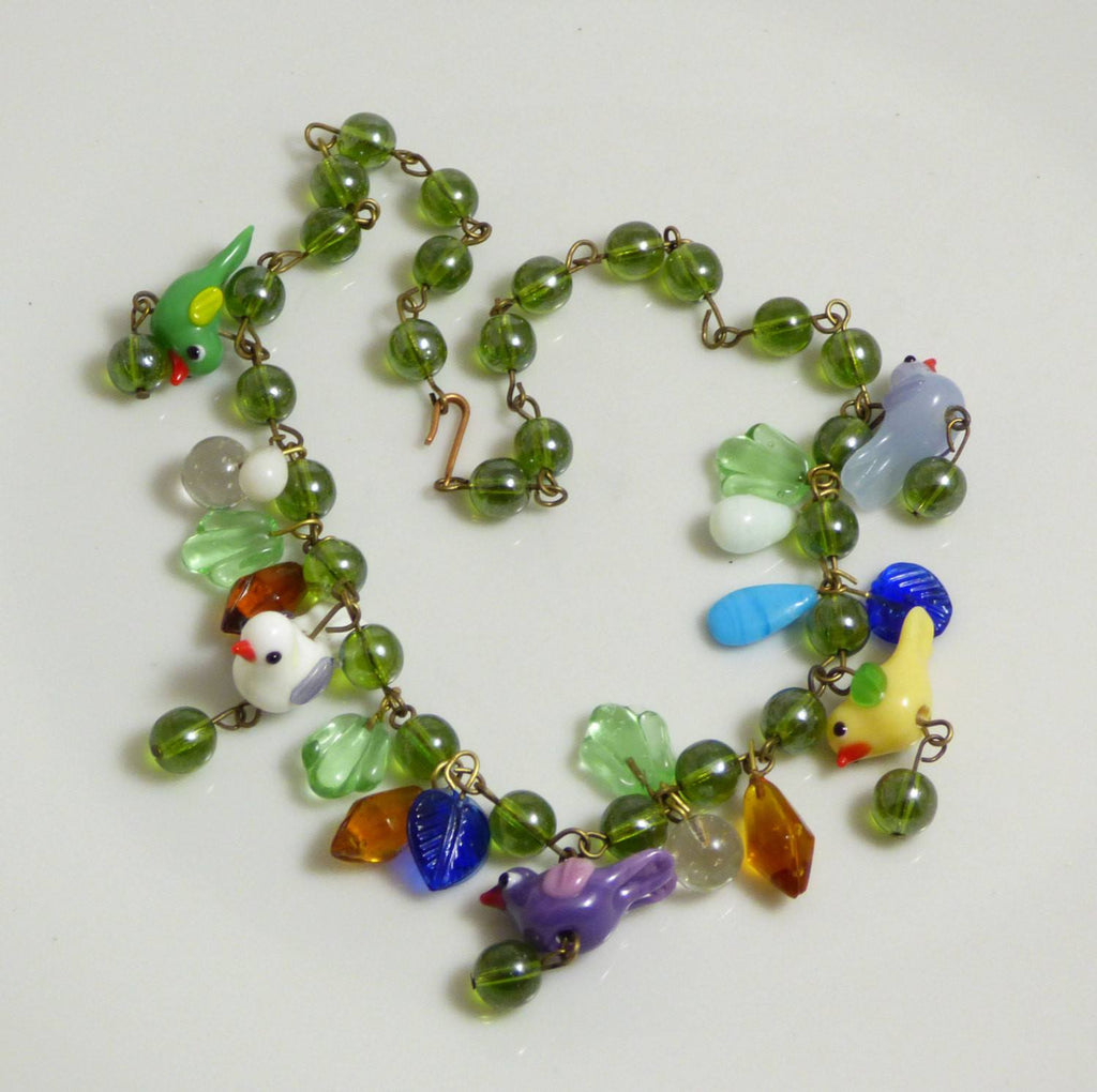 Glass Bird Green Beaded Necklace with Glass Leaves and Shapes - Vintage Lane Jewelry