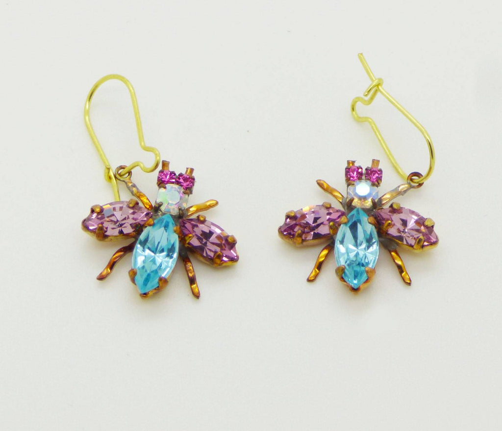 Czech Glass Rhinestone Fly Earrings, Blue and Purple - Vintage Lane Jewelry