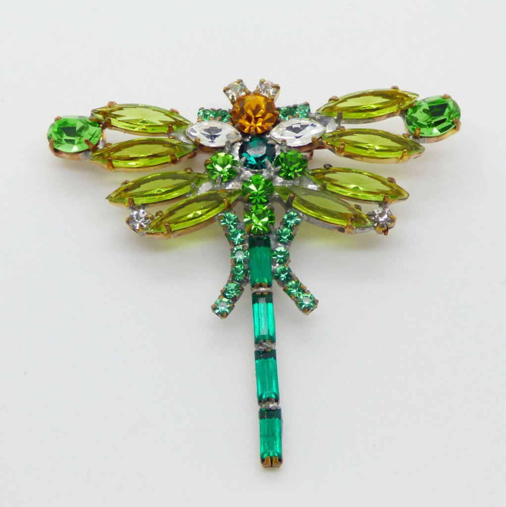 Czech Green Rhinestone Dragonfly Pin - Vintage Lane Jewelry