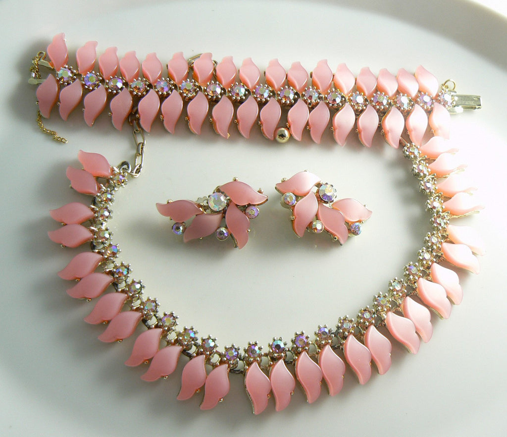 Pink Thermoset Plastic And Ab Rhinestone Parure - Vintage Lane Jewelry