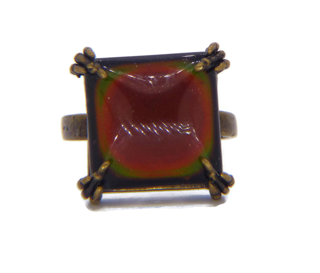 Brass Claw Square Mood Ring, Adjustable - Vintage Lane Jewelry