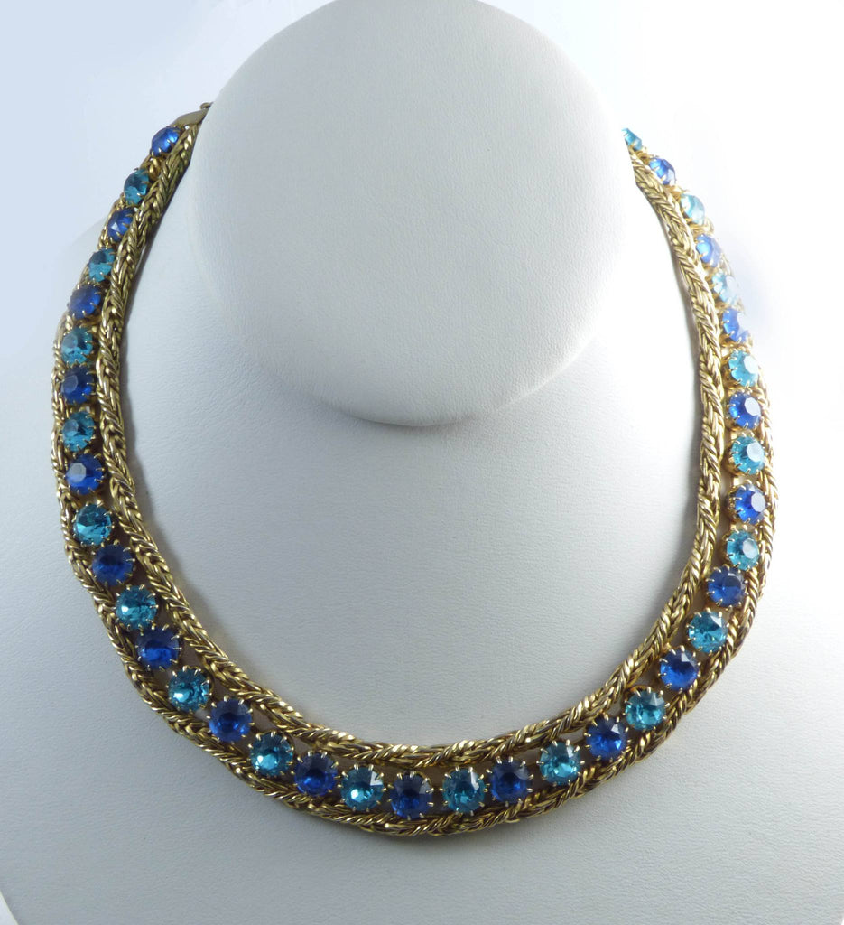 Hattie Carnegie Blue Rhinestone Gold Mesh Necklace Clip Earrings Set - Vintage Lane Jewelry