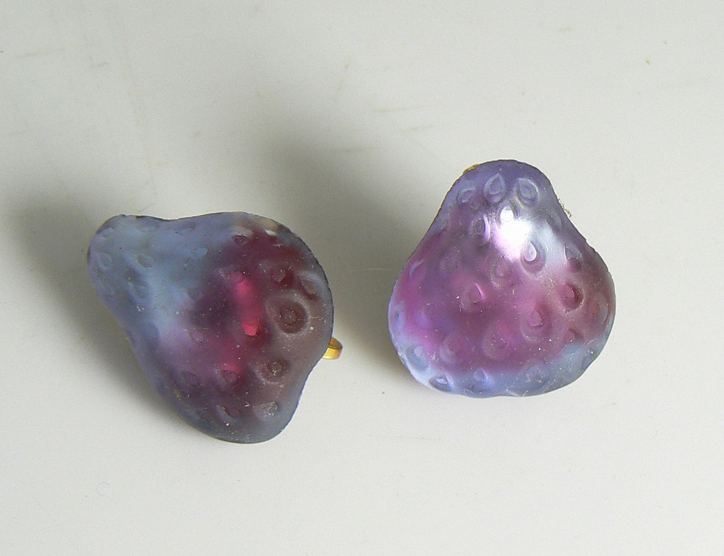 Czech Glass Iridescent Lavender Pear Fruit Clip Earrings - Vintage Lane Jewelry