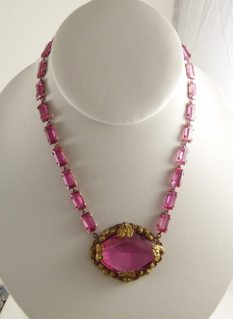 Art Deco Czech pink glass necklace and earring set, pierced earrings - Vintage Lane Jewelry