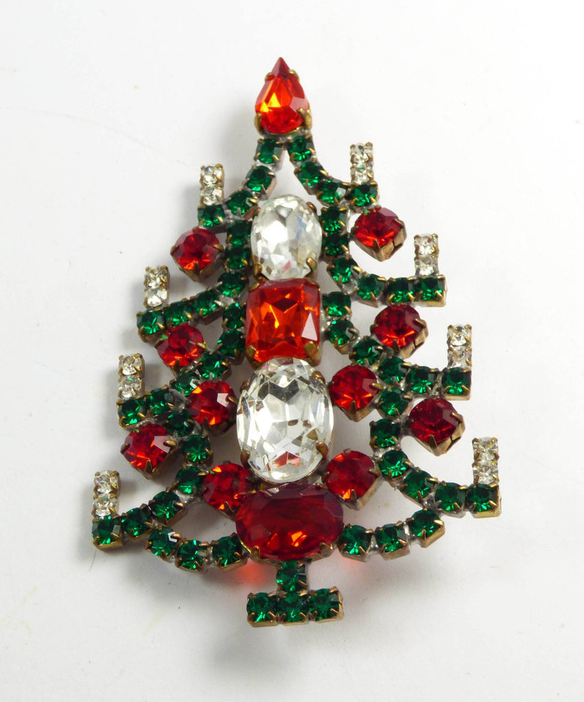 Classic Colors Christmas Tree Brooch, Vintage Rhinestones Xmas Tree Pin - Vintage Lane Jewelry