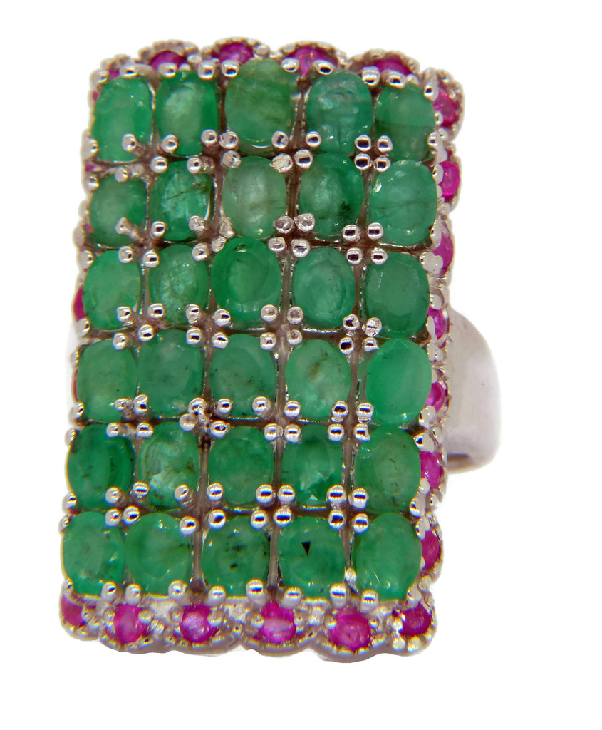 Genuine Emerald Ruby Gemstone Sterling Silver Ring - Vintage Lane Jewelry