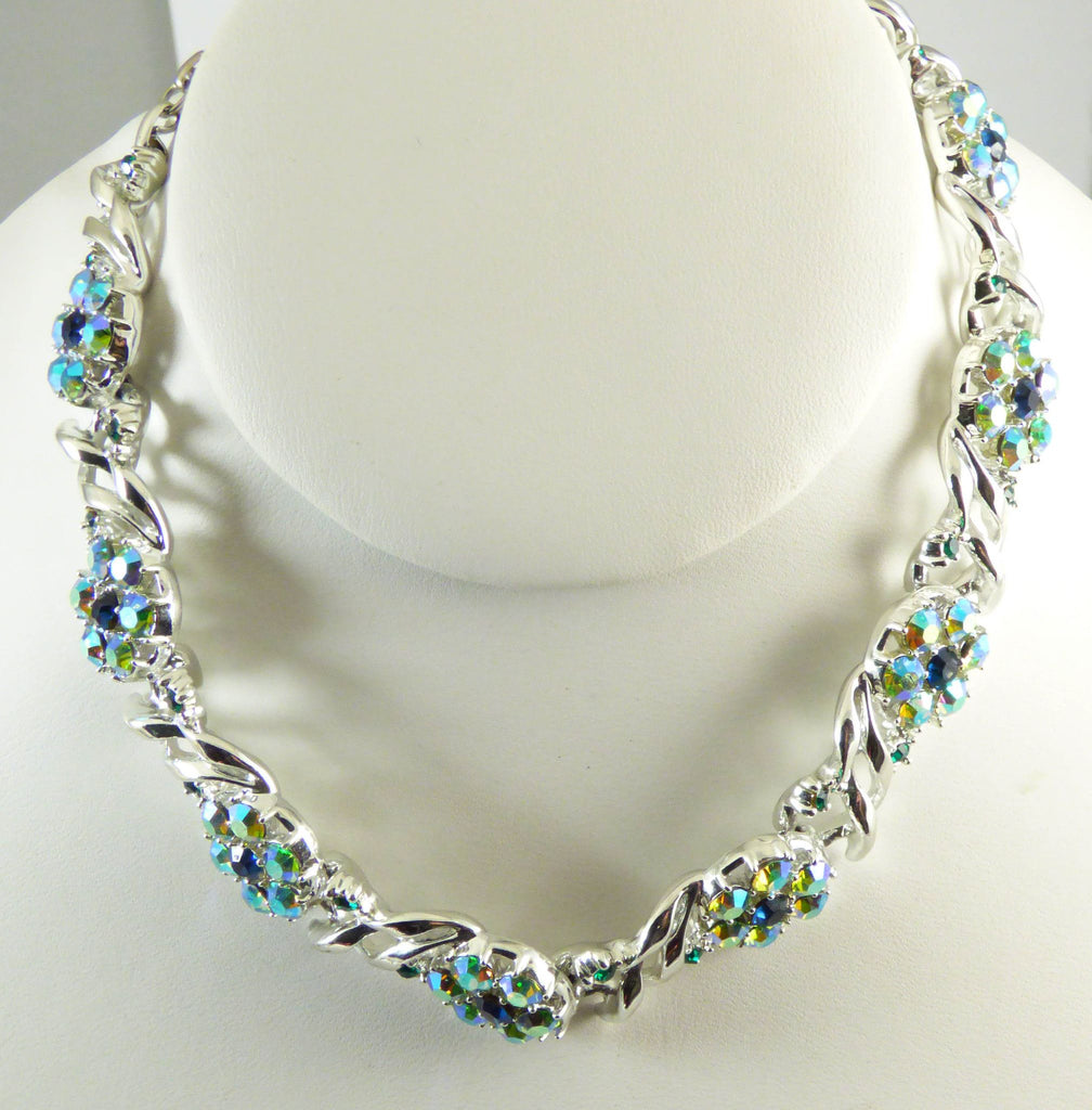 Blue, Green and Aurora Borealis Rhinestone Flower Vintage Necklace - Vintage Lane Jewelry