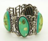 Confetti Bright Green Lucite Cabochon Huge Silver Tone Link Bracelet - Vintage Lane Jewelry