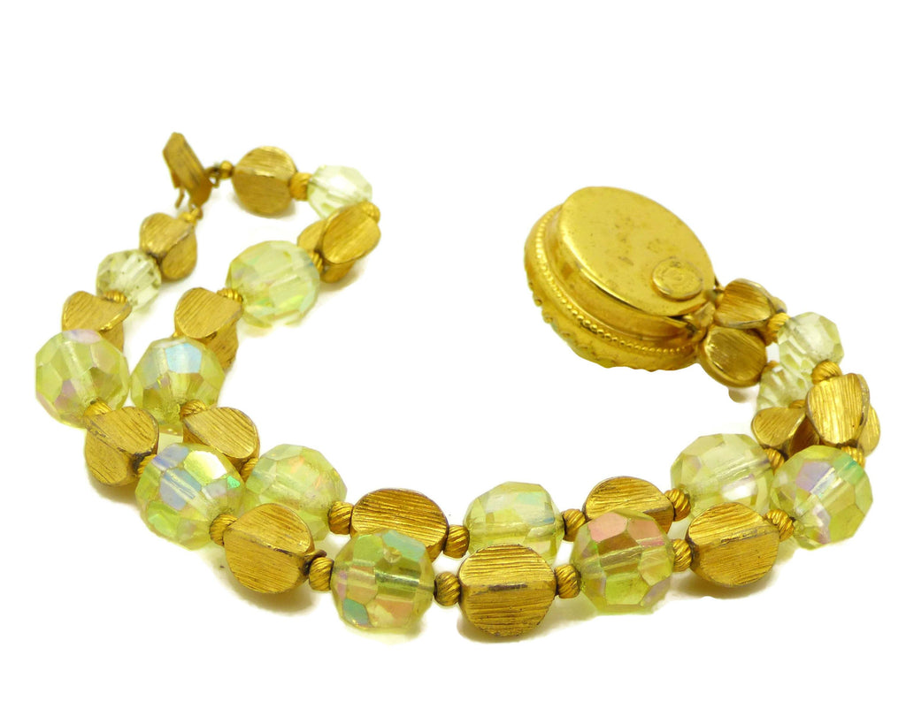 Vintage Alice Caviness Yellow Art Glass Double Strand Bracelet - Vintage Lane Jewelry
