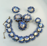 Miriam Haskell Moon Glow Blue Rhinestone Parure, bracelet, brooch and clip earrings - Vintage Lane Jewelry