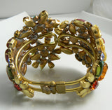 Czech Glass Multicolored Floral Cuff Bracelet - Vintage Lane Jewelry