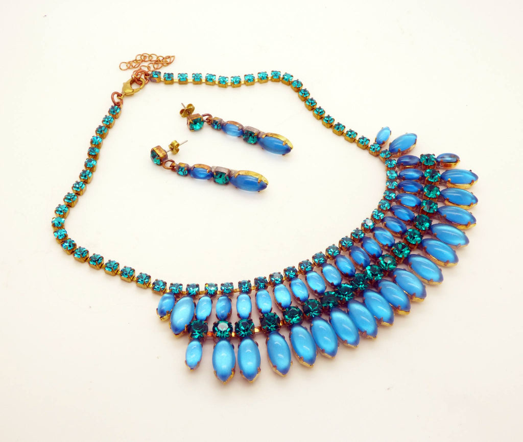 Czech Glass Sky Blue Cabochon Rhinestone Fringe Necklace & matching pierced style earrings - Vintage Lane Jewelry